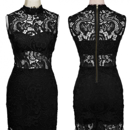 2d0f35fee5e Women's Fashion Sexy High Collar Bodycon Lace Dress Evening Party ...
