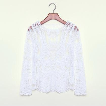 Fashion Crochet Lace Tops Women Blo..