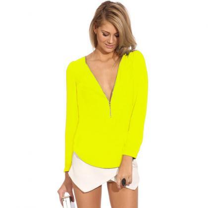 Cheap Fashion V Neck Long Sleeves F..
