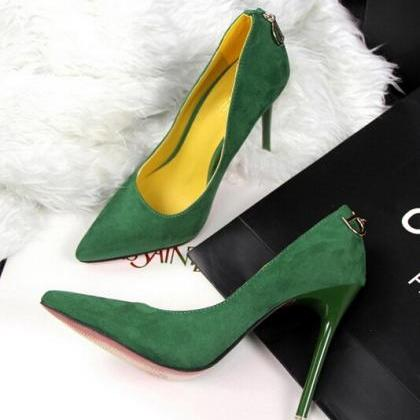 Faux Suede Pointed-Toe High Heel St..
