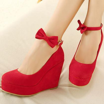 Red Flannelette Ankle With Wedges B..