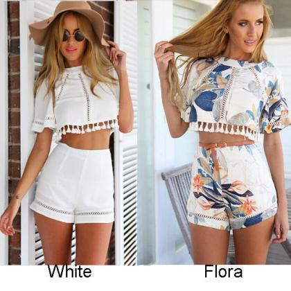 Backless Floral Short Suits