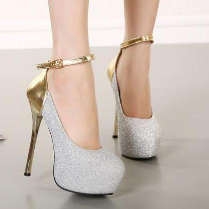 Sexy Ankle Strap Design Metallic Hi..