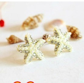Golden Five-Pointed Star Starfish Diamond Pearl Earrings NT0043