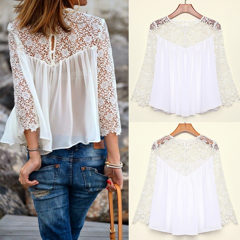 8c1d6dd8ad Spring Summer Women Blouses Fashion Casual Lace Shirts Chiffon Blouses  White Lace Tops