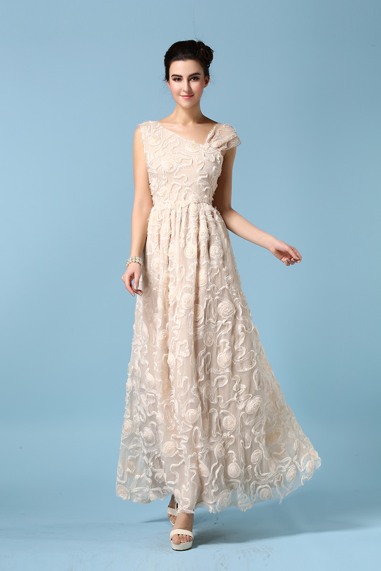 2199d4bd2 High Quality Beautiful Organza Embroidered Maxi Dress - Apricot on ...