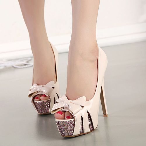 Fashion Round Peep Toe Bow-Tie Designed Platform Stiletto Super High Heels Apricot PU Basic Pumps
