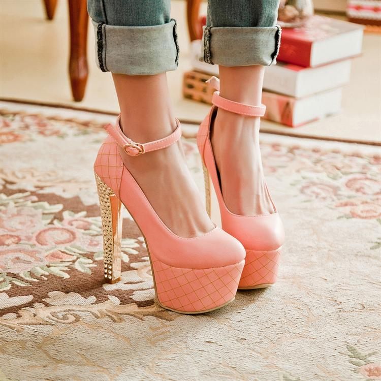 4f225c09a186 Fashion Round Toe Closed Chunky High Heel Ankle Strap Pink PU Pumps ...