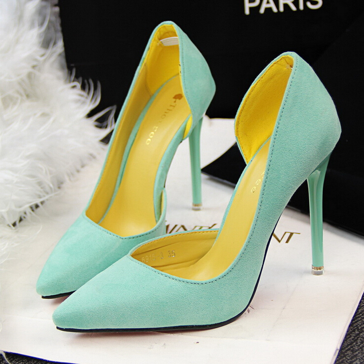 2015 the European and American fashion contracted fine with high heels show thin green suede high heels for women's shoes