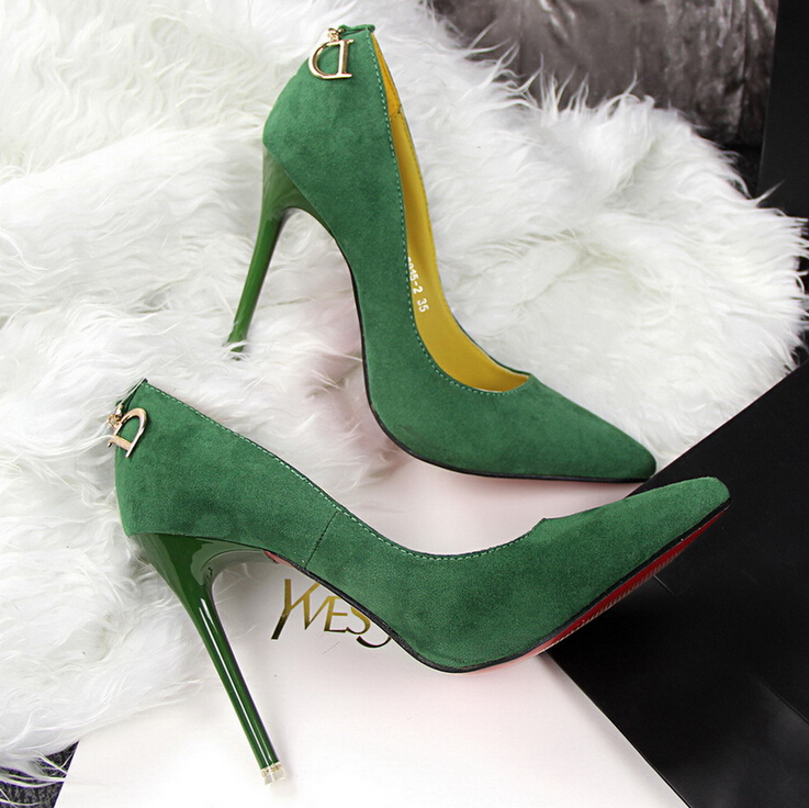 Faux Suede Pointed-Toe High Heel Stilettos Featuring 'D' Embellished Back