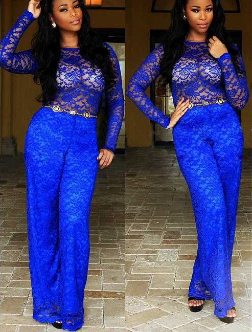 Cheap Sexy Long Sleeves Hollow-Out Solid Blue Lace Regular Jumpsuit