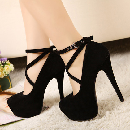 e171c8817a6a Ankle Strap Classy Black High Heels Fashion Shoes on Luulla
