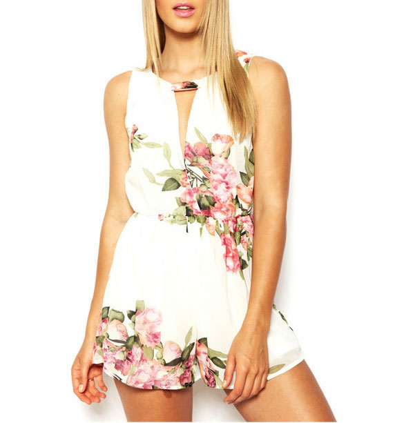 Sexy Sweet Floral Jumpsuit Shorts