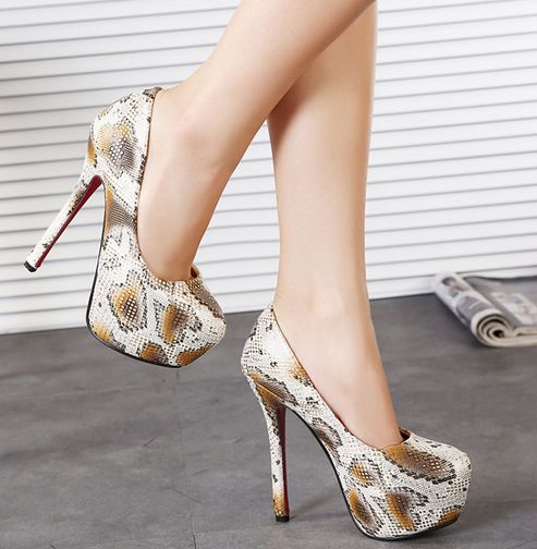 Synthetic Snake Skin Leather High Heel Platform Pumps