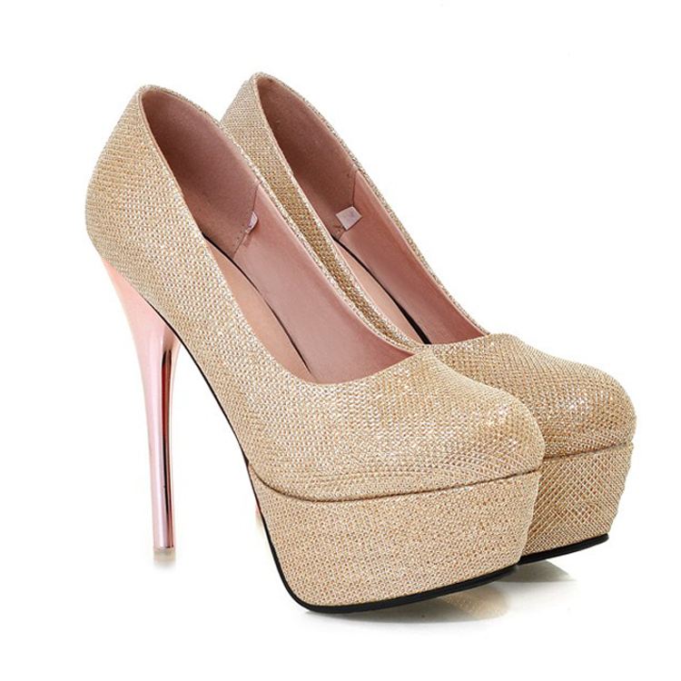 Classy Metallic Gold High Heels Fashion Shoes on Luulla