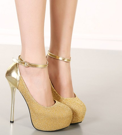 Sexy Ankle Strap Design Metallic High Heel Fashion Shoes