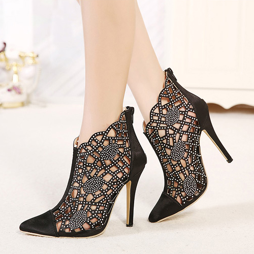 9b9dce1d5bb Gorgeous Rhinestone Embellished Black Pointed Toe High Heel Shoes on ...