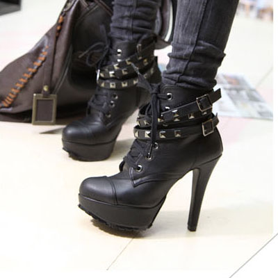 Studded Black High Heel Winter Boots On Luulla