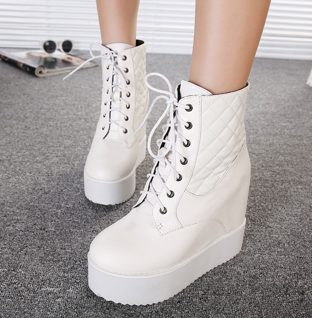 boots White lace up platform