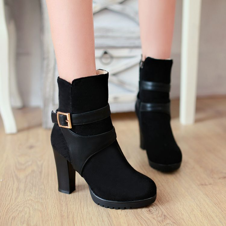 Toe Chunky Heel Black Boots Winter Round High 2I9WDYEH