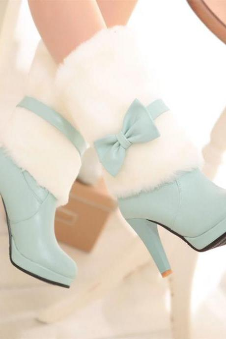 Girly Bow Design High Heel Fashion Winter Boots