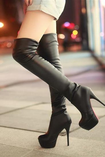Sexy Over The Knee High Heel Black Fashion Winter Boots
