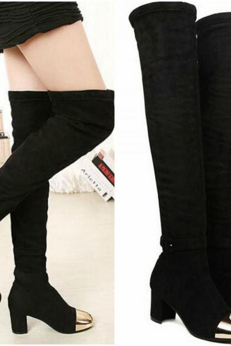 Suede Over-the-Knee Chunky Heel Capped Toe Boots - Black