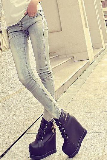 Black Wedge Platform Boots