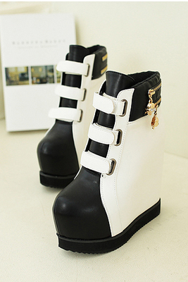 white Wedge Platform Boots