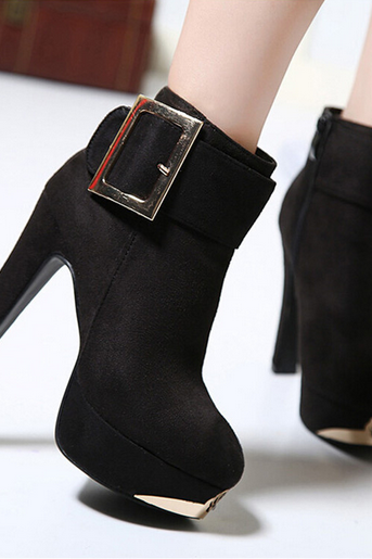 Chic Black Buckle Design Sued High Heel Fashion Boots