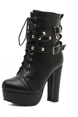 Studded Lace Up Black Chunky Heel Boots