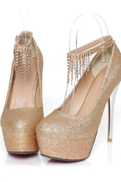 Rhinestone Charmed Metallic High Heel Shoes In 3 Colors