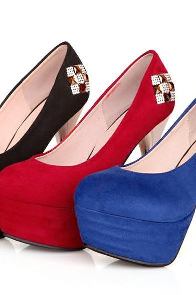 Classy Diamond Design High Heel Shoes In Red, Blue And Black