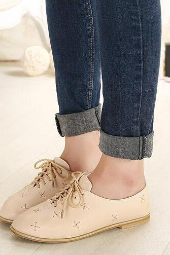 Gorgeous Casual Oxford Shoes In Apricot
