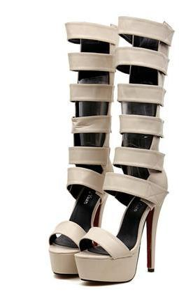 Strappy High Heels Gladiator Sandals In Apricot