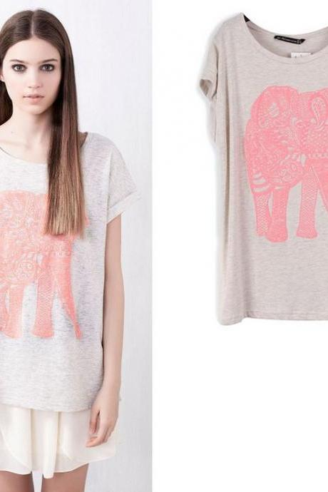 Elephant Round Neck Stretch Cotton Sleeveless T-Shirt