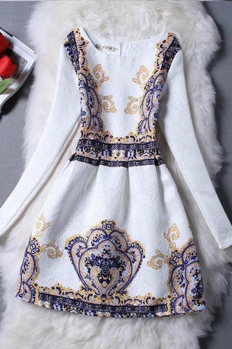 Glamorous Vintage Design Long Sleeve Fashion Dress