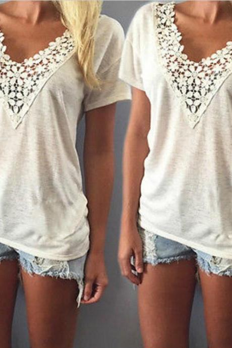 Lace V Neck White T shirt