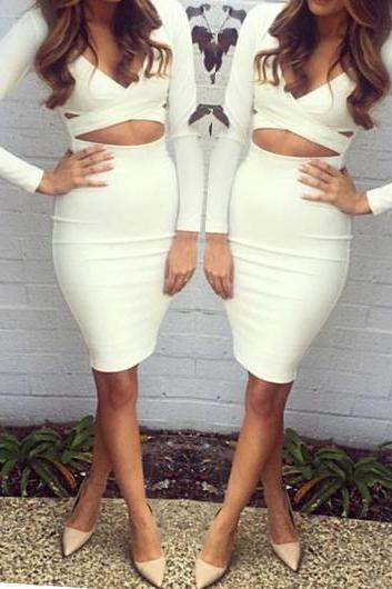 White Cut out Design Long Sleeve Dress