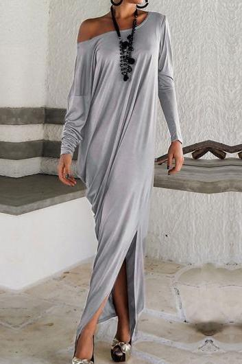 Grey Long Sleeve Off Shoulder Maxi Dress