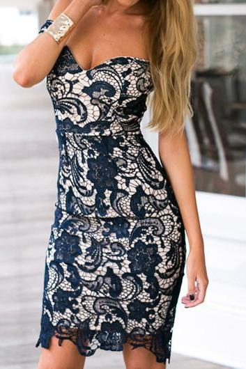 Navy Blue Lace Short Strapless Bodycon Dress