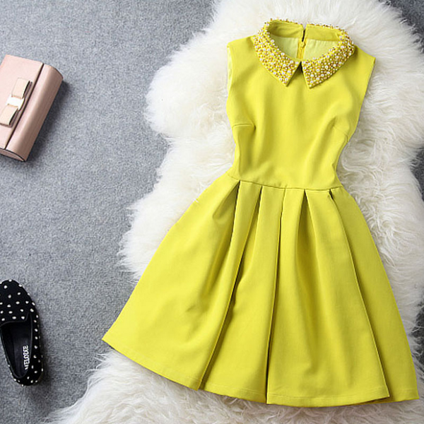 yellow Dress With Collar