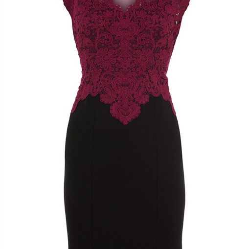 Embroidered Crochet Dress In wine red And Black
