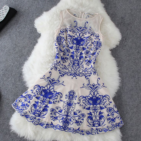 Embroidered Dress In Blue And beige