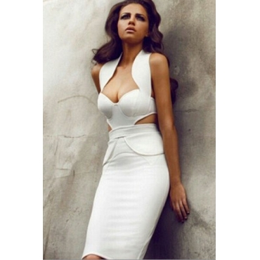 Celebrity Fashion Halter Neck Off The Shoulder Sleeveless Textured Cutout White Polyester Party Midi Dress