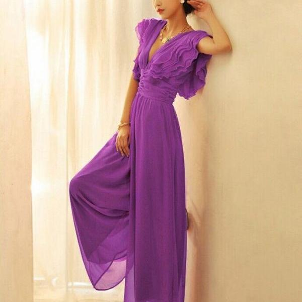 Luxury Chiffon Plunging V Neck Solid Color Ruffles High Waist Backless Zip Wide Leg Jumpsuit