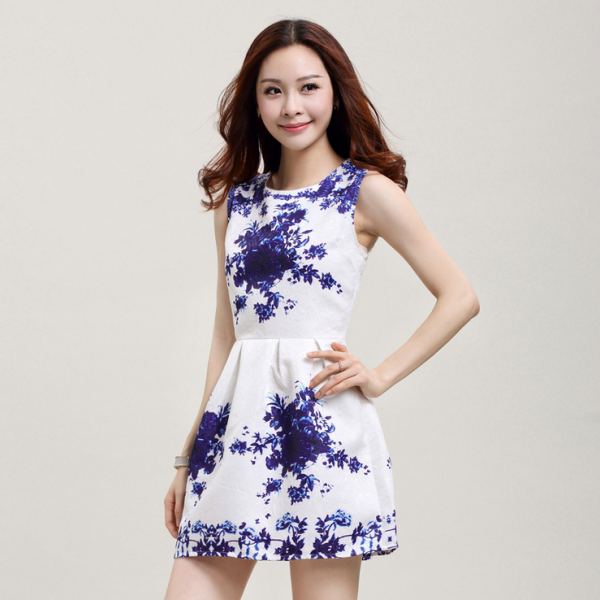 2015 printed small pure and fresh and vest dress dress