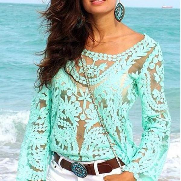 Fashion Crochet Lace Tops Women Blouses Hollow Out Lady Lace Shirt Lace Blouse