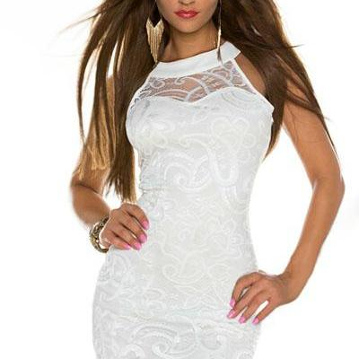 Cheap Sexy O Neck Tank Sleeveless White Lace Sheath Knee Length Dress