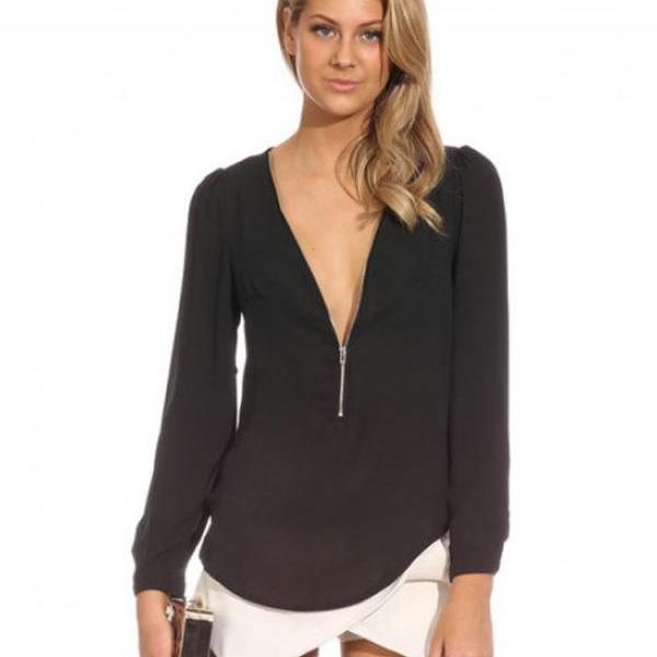 Cheap Fashion V Neck Long Sleeves Front Zipper Design Solid Black Chiffon Shirt